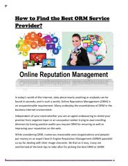 Find the Best ORM Service Provider in NYC.pdf
